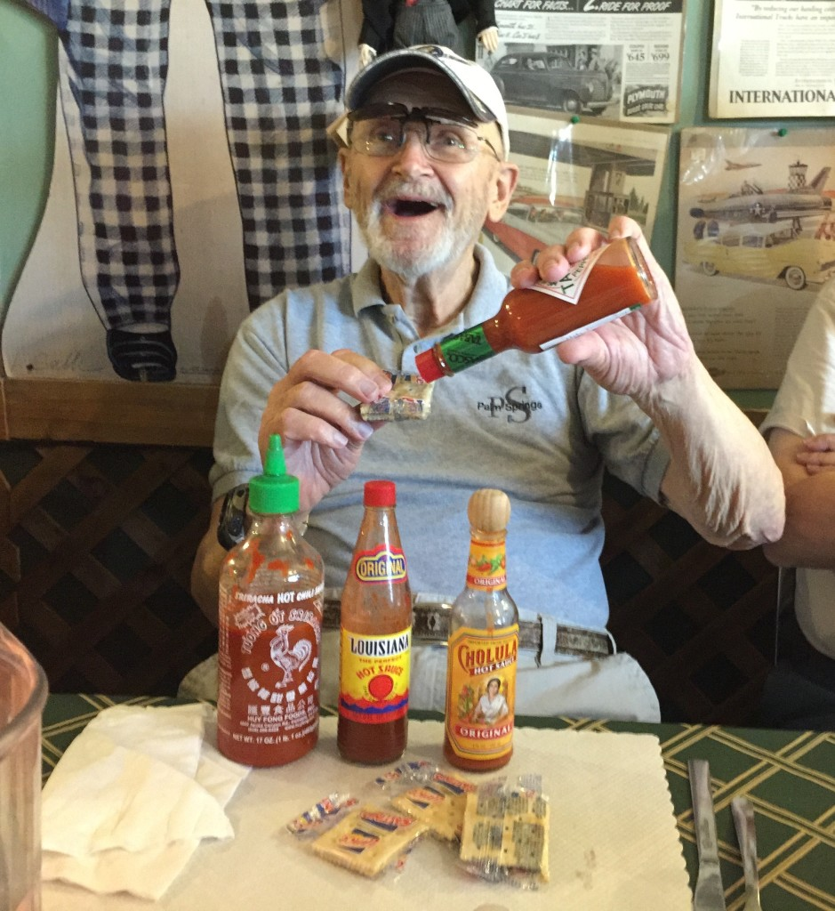Tobasco sauce and salteen cracker - real good!